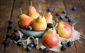 Обои ягоды, натюрморт, ежевика, черника, груши