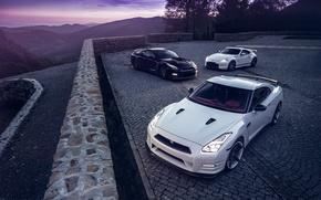 Картинка GTR, Moon, Nissan, Sky, Front, Black, Lights, White, R35, 370Z, Nigth