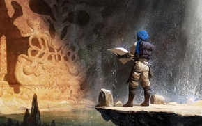 Картинка вода, брызги, камни, камень, водопад, карта, арт, рожа, пещера, скульптура, рюкзак, путник, свиток, тюрбан, араб
