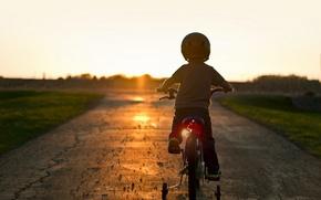 Картинка закат, велосипед, настроение, мальчик