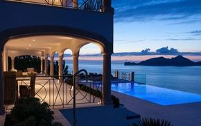 Картинка море, свет, вилла, вечер, бассейн, Port Andratx