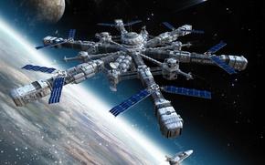 Обои стыковка, станция, шатл, планета, космос