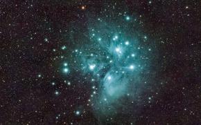 Картинка космос, Плеяды, M45, звёздное скопление, в созвездии Тельца