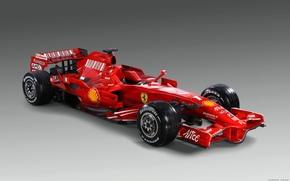Обои красный, Ferrari, болид, Formula-1