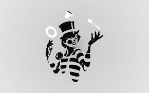 Картинка клоун, тарелка, ложка, чашка, жанглёр