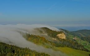 Картинка небо, горы, туман, скала