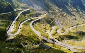 Обои горы, серпантин, дорога, Transfagarasan, панорама, шоссе, трасса, горное, Румыния, камни