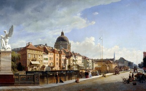 Картинка картина, живопись, painting, 1855, Rear View of the Houses at Schloßfreiheit, Ansicht der Rückfront der …