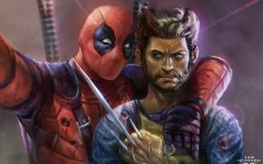 Картинка Меч, Росомаха, Wolverine, Deadpool, Marvel, Дэдпул, Wade Wilson