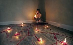 Картинка девушка, ритуал, свечи
