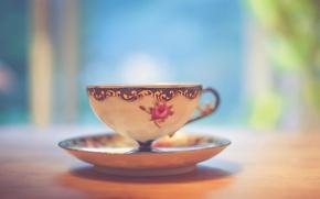 Обои light, wood, cup, bokeh, shadows, tea, table, feed, saucer, teacup, beverage
