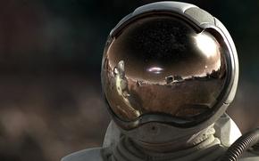Обои шлем, Скафандр, космонавт, 157, отражение