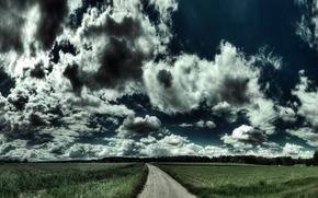Обои дорога, road, nature, поле, пейзаж