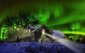 Картинка ночь, дом, северное сияние, силуэты, The Visitors