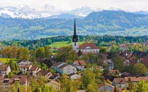 Картинка деревья, горы, здания, дома, Швейцария, церковь, панорама, Switzerland, Gossau