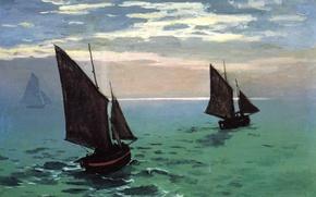 Картинка небо, картина, парус, морской пейзаж, Клод Моне, Рыбацкие Лодки в Море