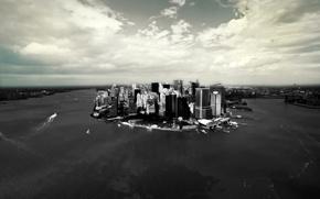Картинка город, небоскребы, манхеттен