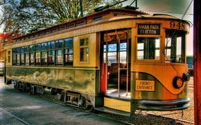 Картинка ретро, рельсы, трамвай
