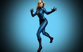 Картинка девушка, фон, блондинка, костюм, комикс, марвел, Marvel Comics, Fantastic Four, Невидимая Леди, Фантастическая Четверка, Сьюзан …