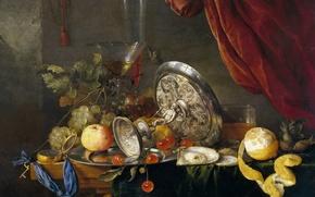 Картинка лимон, яблоко, картина, виноград, ваза, Натюрморт, Ян Давидс де Хем