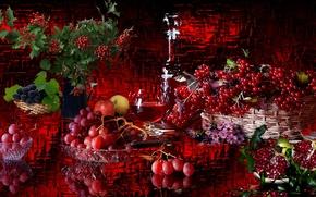 Картинка ягоды, вино, виноград, натюрморт, Гранат, калина