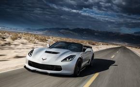 Картинка дорога, скорость, Z06, Corvette, Chevrolet, суперкар, автомобиль, Convertible