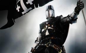 Картинка доспехи, мечь, топхельм, Крестоносец