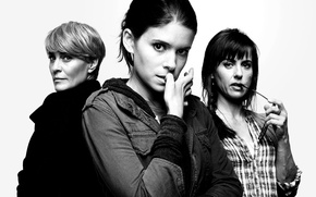 Картинка black and white, Kate Mara, actresses, TV series, House of Cards, Robin Wright, Constance Zimmer, …