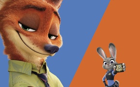 Картинка cinema, animation, logo, Disney, star, fox, animals, police, blue, smile, rabbit, cartoon, orange, movie, hair, …