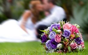 Картинка чувства, букет, свадьба, невесты, горько