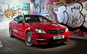 Картинка Mercedes-Benz, red, C63