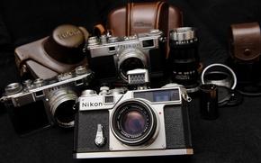 Картинка фон, widescreen, обои, камера, фотоаппарат, пленка, Nikon, объектив, wallpaper, широкоформатные, camera, background, чехол, Hi-Tech, полноэкранные, ...
