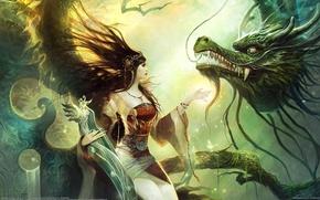 Картинка девушка, дракон, Wenjun Lin