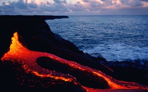 Картинка fire, rock, sea, sunset, Lava, magma