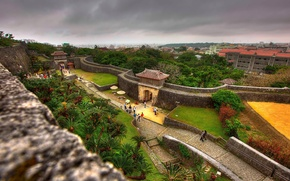 Картинка City, Japan, nature, tree, walls, people, Castle, Shuri, Shuri Castle, Okinawa
