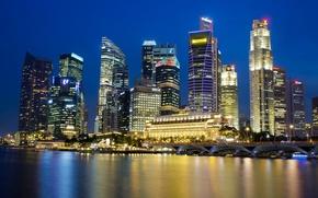 Картинка небо, ночь, огни, отражение, небоскребы, подсветка, залив, Сингапур, синее, мегаполис, город-государство