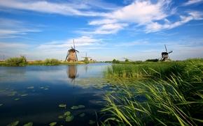 Обои голандия, канал, река, мельницы