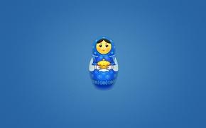 Обои минимализм, синий фон, выпечка, матрешка, матрена, расписная кукла