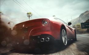 Картинка машина, попа, огни, гонка, пыль, занос, Ferrari, Need for Speed Rivals