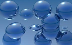 Картинка вода, отражения, рендеринг, шары, металлик, сферы, погружение, обои от lolita777