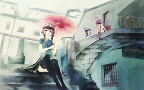 Картинка девушки, дождь, зонт, аниме, арт, лестница, vocaloid, anna, luo tianyi, yuezheng ling, anna1997
