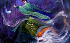 Обои лес, девушка, ночь, магия, колдунья