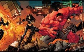Картинка оружие, огонь, Ghost Rider, Призрачный гонщик, Venom, Red Hulk, X-23, веном, красный халк
