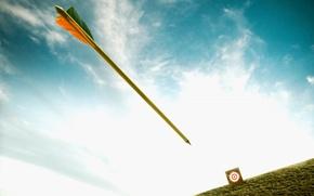 Обои полет, небо, цель, мишень, стрела