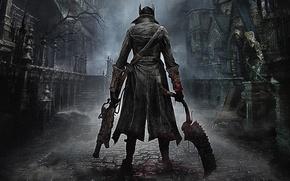 Картинка Город, Кровь, Оружие, Плащ, Охотник, PlayStation 4, PS4, 2015, From Software, Bloodborne