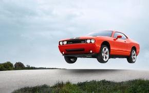 Картинка Авто, Машина, Скорость, Оранжевый, Dodge, SRT8, Challenger, в воздухе, Летит