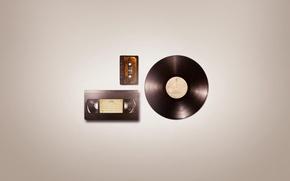 Картинка минимализм, пластинка, аудио, кассеты, minimal Wallpapers, Audio VHS, видео