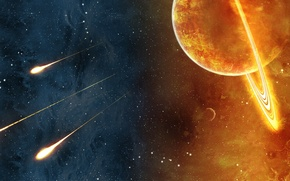 Обои солнце, 3 кометы, тьма, космос, огонь