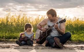 Картинка музыка, настроение, гитары, отец, сын