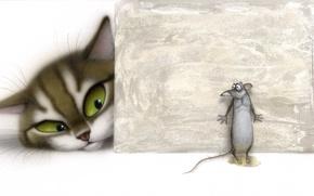 Картинка кот, ситуация, мышка, арт, детям, владимир стахеев